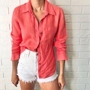 100% linen button up long sleeve deep coral pink